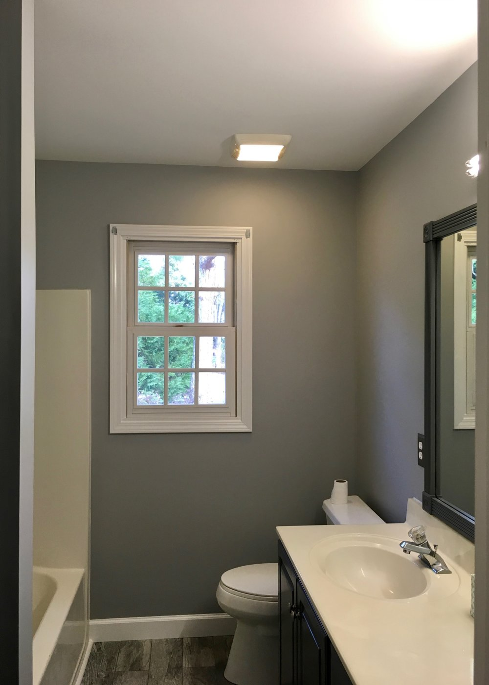 COMPLETE BATHROOM REMODEL: POPCORN CEILING REMOVAL & PAINT, DRYWALL REPAIR, WALLS, DOOR, TRIM, MIRROR, & VANITY—SPRAYED