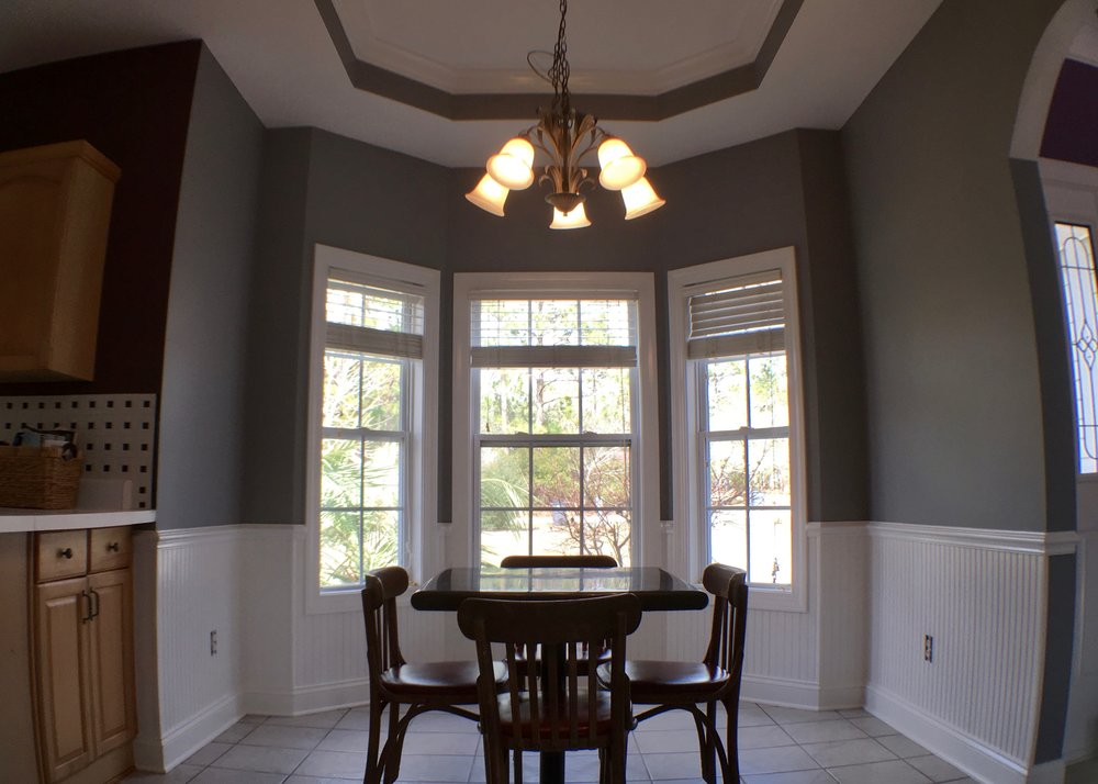 ENTIRE KITCHEN REPAINT: CEILING, WALLS, DOOR & TRIM, & WAINSCOTING SPRAYED