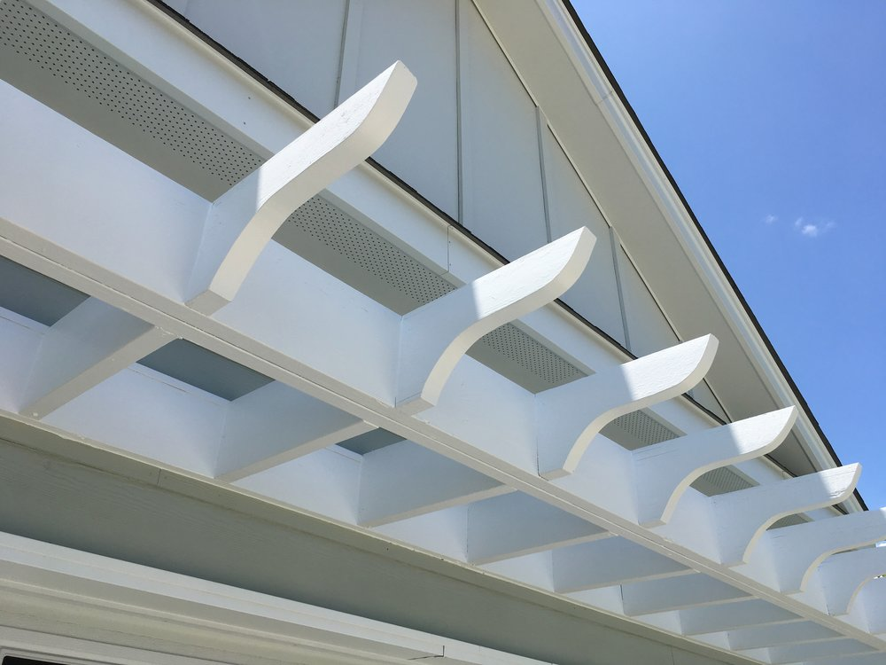 PERGOLA:  REPAIR & PAINT / BENJAMIN MOORE REGAL SELECT SOFT GLOSS, SRAYED