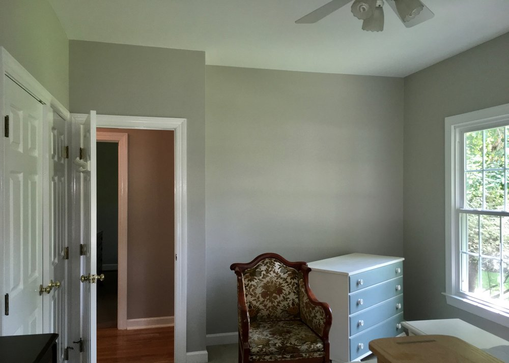 INTERIOR REPAINT / CEILING: BENJAMIN MOORE WATERBORNE ULTRA FLAT, ROLLED / WALLS: REGAL SELECT MATTE—LONDON FOG, ROLLED / DOORS & TRIM: ADVANCE SEMI-GLOSS, SPRAYED