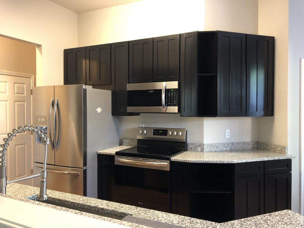 KITCHEN CABINETS: BENJAMIN MOORE ADVANCE SATIN BLACK, SPRAYED