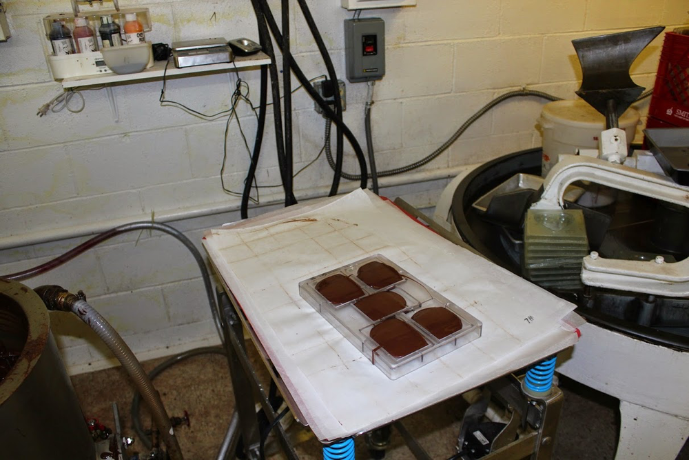 Our Chocolate cooling in a mold in Ohio.