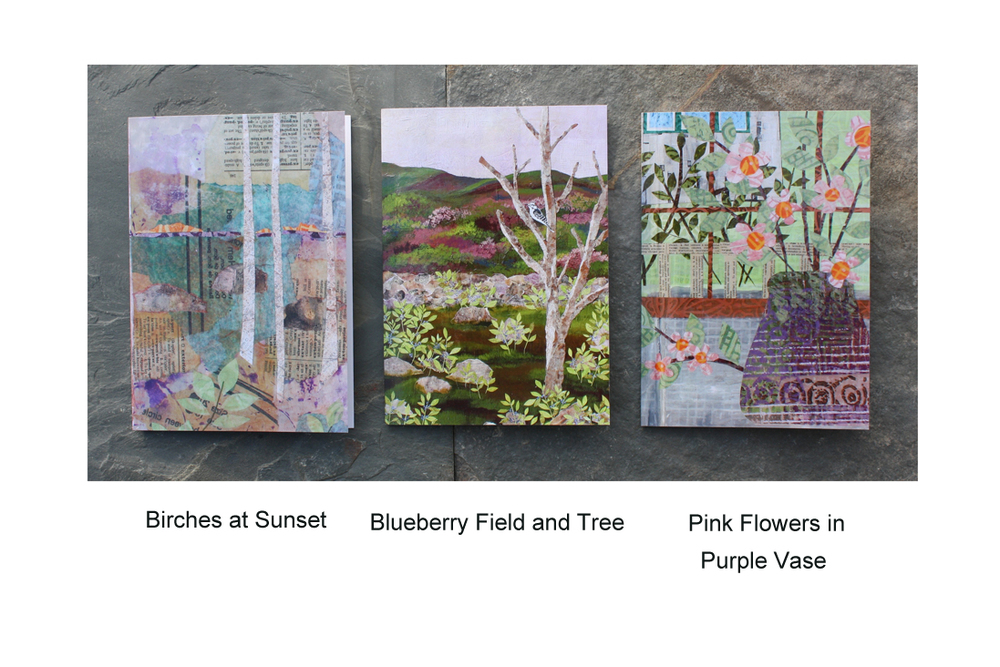 Greeting Cards: Birches, Blueberry Fields and Pink Flowers.jpg