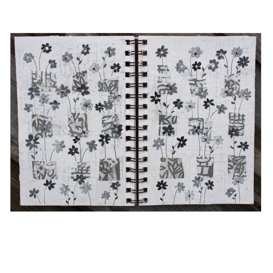 Grey and Black Flowers in Boxes Journal Pages.jpg