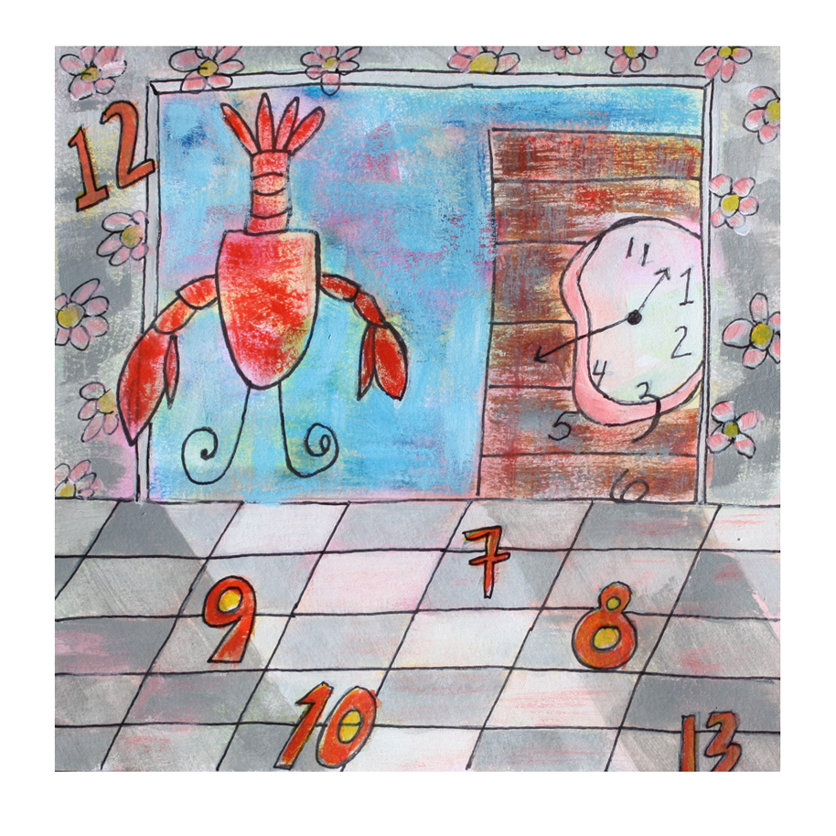 Lobster and Pink Clock Sketch.jpg
