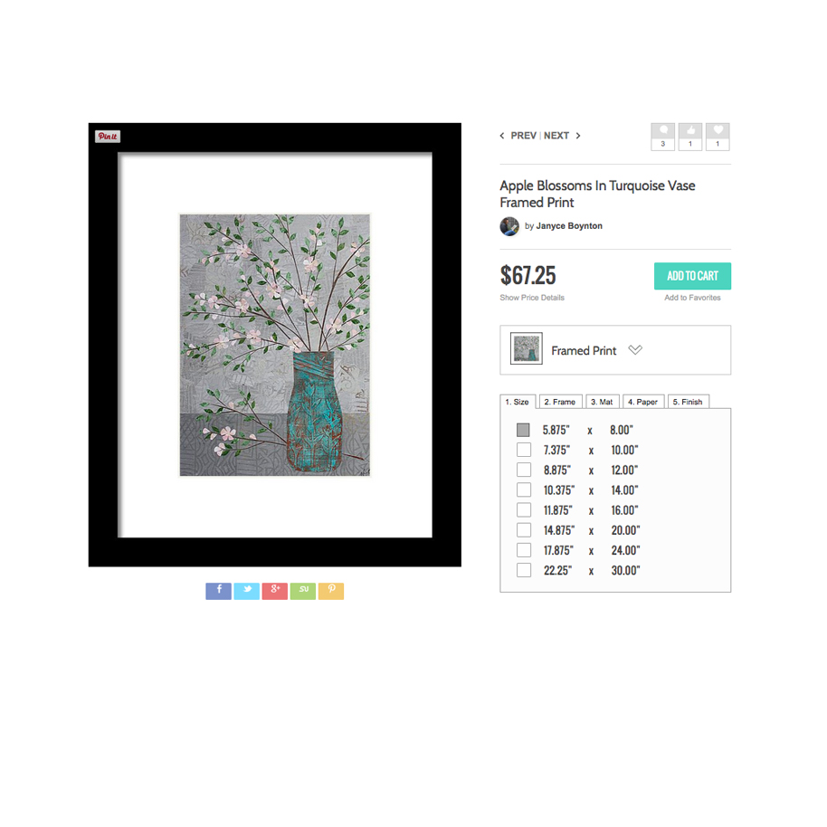 Apple Blossom in Turquoise Vase Framed Print.jpg
