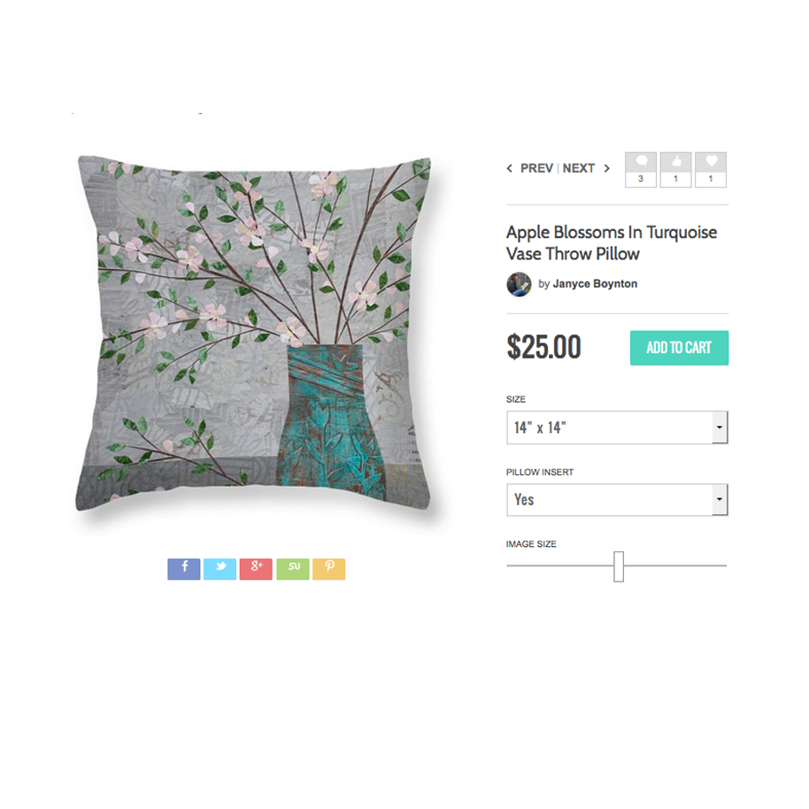Apple Blossoms in Turquoise Vase Pillow.jpg