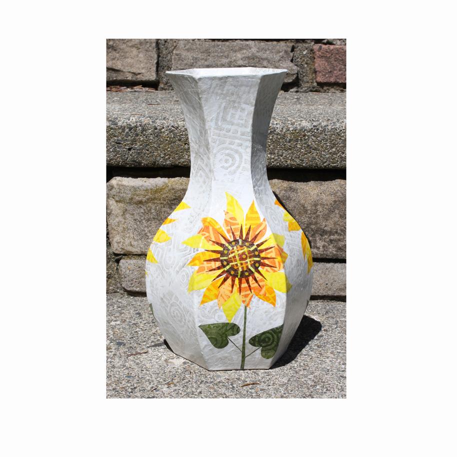 Sunflower Vase - Papier Mache and Collage.jpg