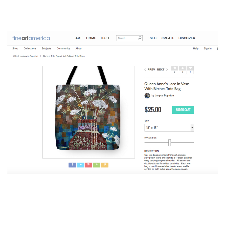 Queen Anne's Lace in Vase with Birches Tote.jpg