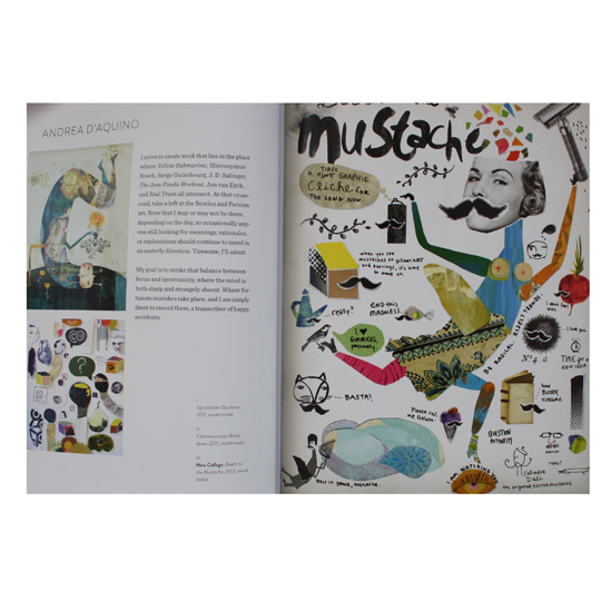 Left: Upside Down Gardener (2011) and Communication Breakdown (2011) by Andrea D'Aquino; Right: Death to the Mustache (2013) by Andrea D'Aquino
