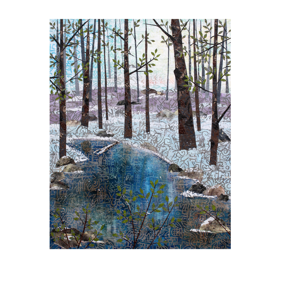Little Stream. Layered paper collage.