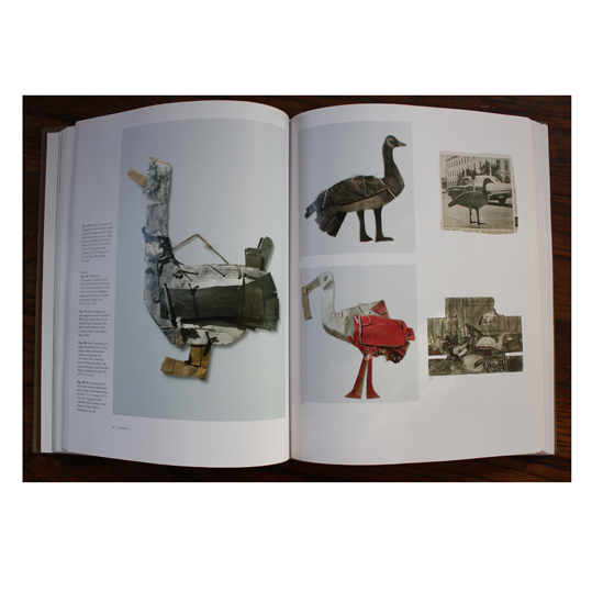 Left: Duck by James Castle; Right: Gray goose, Stork, and Bird constructions in shed by James Castle. Also news clipping of goose on Capitol Boulevard, Boise, Idaho found among Castle's ephemera.