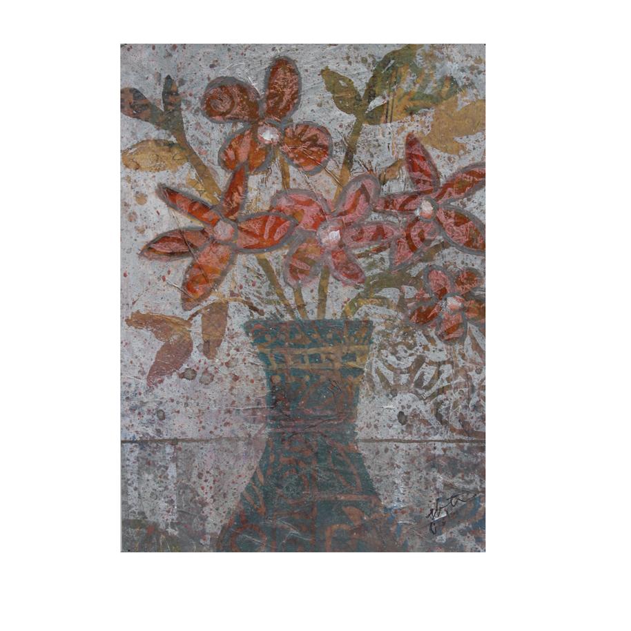 Orange Flowers in Turquoise Vase (A).jpg