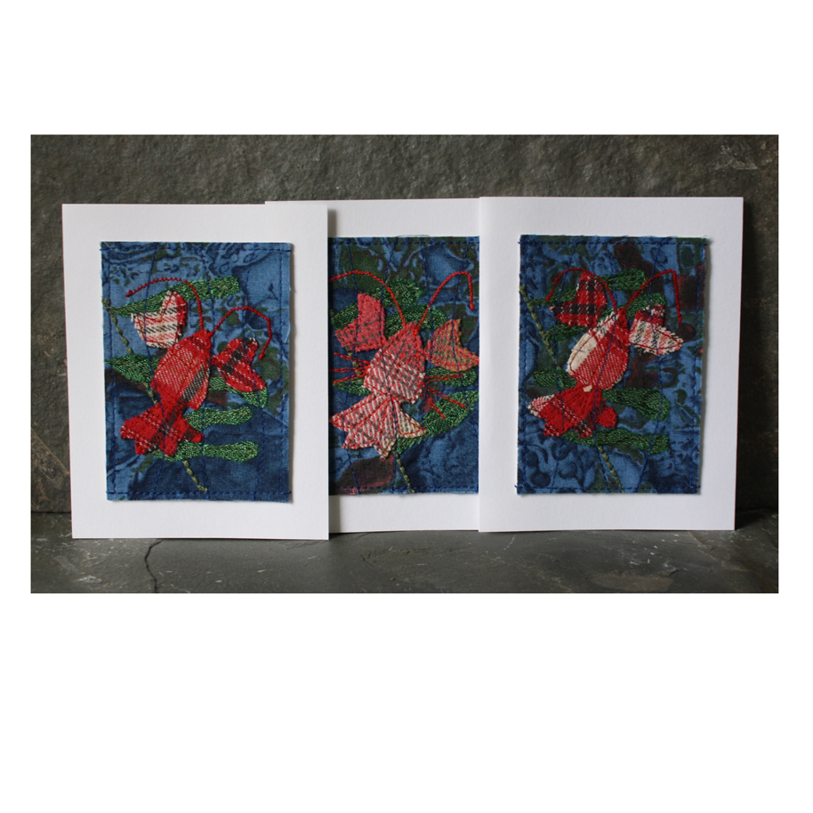 Stitched fabric collage lobsters.jpg
