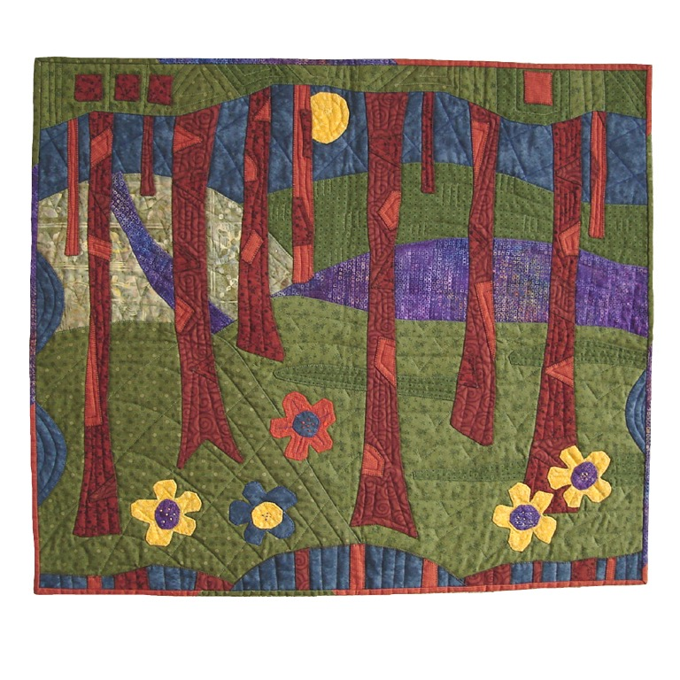 Forest Path (2008?). Machine-stitched quilted wall-hanging.