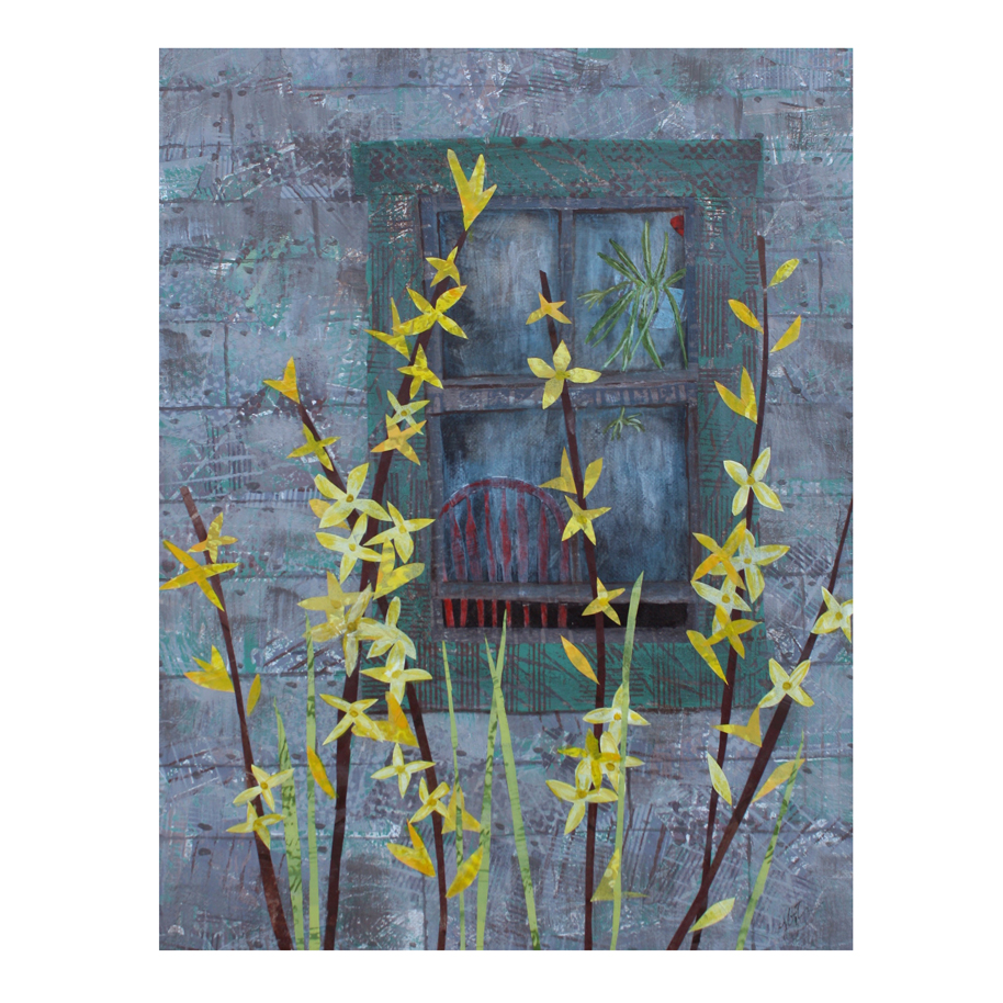 "Forsythia (2015). Layered paper collage. Hand-stamped paper with acrylics cut and adhered to 11"" x 14"" canvas."