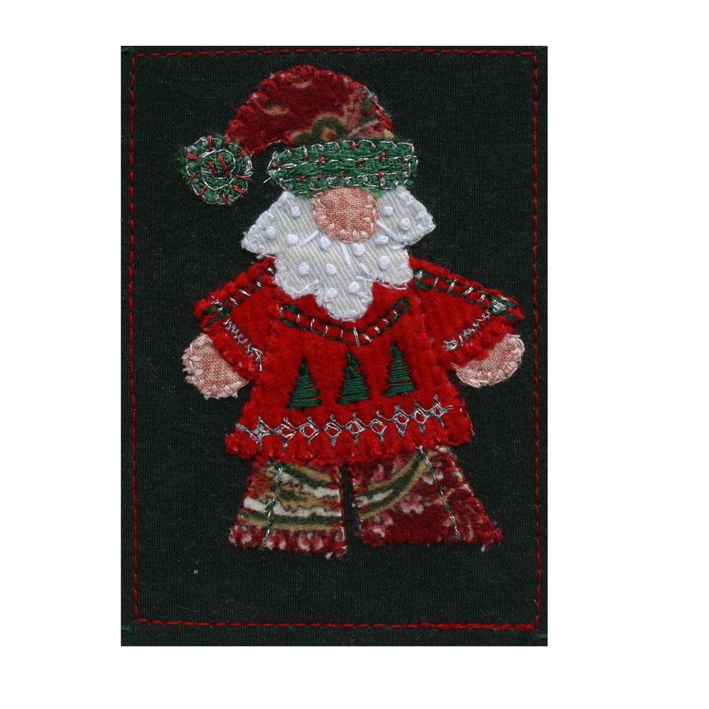 "Stylized Santa. 2.5"" x 3.5"" fabric collage with 5"" x 7"" mat. eBay listing  here ."