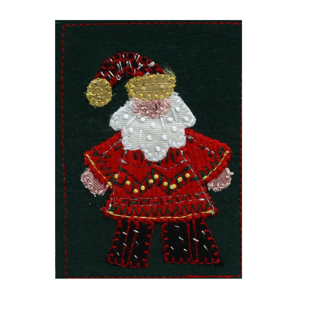 "Stylized Santa. 2.5"" x 3.5"" (ACEO) with 5"" x 7"" white mat. eBay listing  here ."