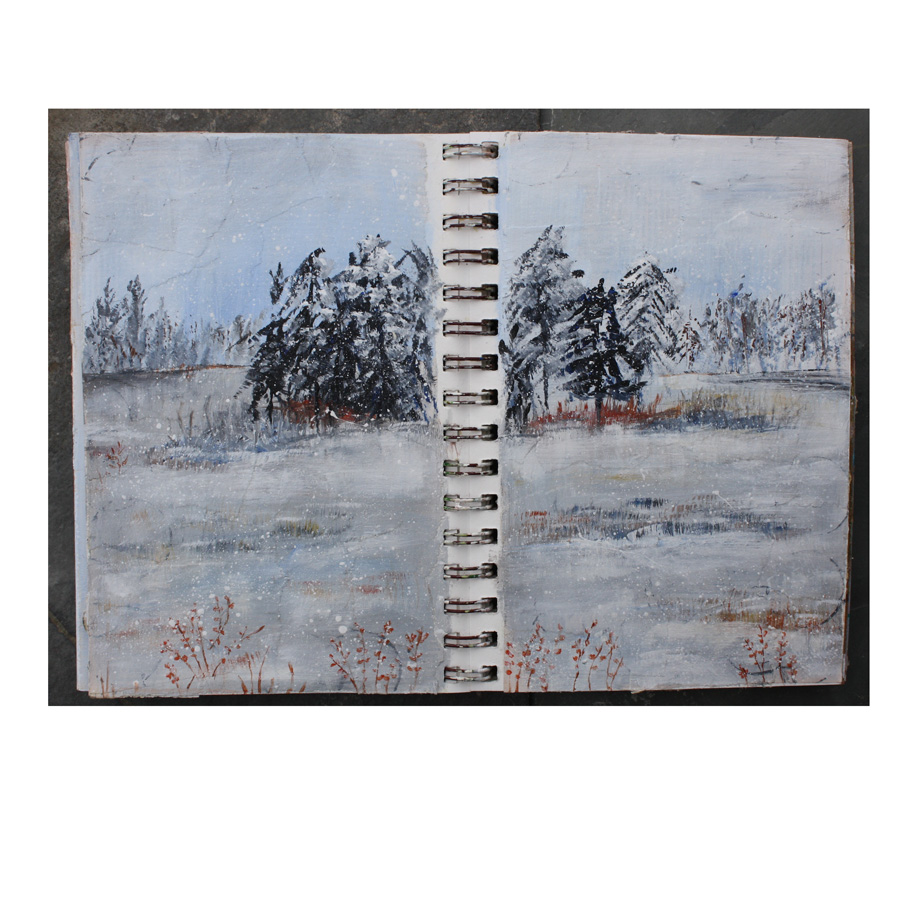 Winter Scene. Art journal pages. Recycled book pages and acrylics on mixed media paper.