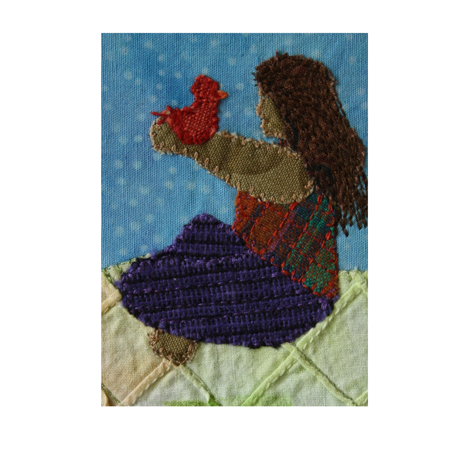 """Woman and Red Bird. 2.5"""" x 3.5"""" stitched fabric collage. eBay listing. Available  here ."""