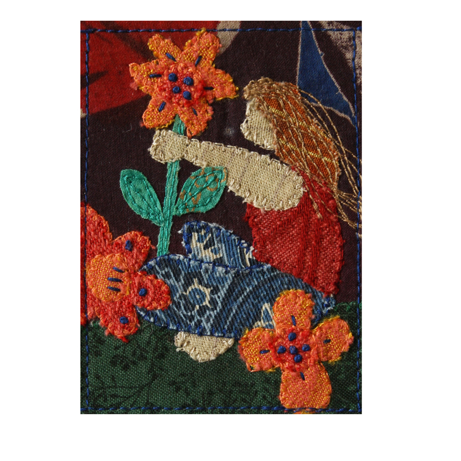 """Woman and Orange Flowers. 2.5"""" x 3.5"""" stitched fabric collage. eBay listing. Available  here ."""