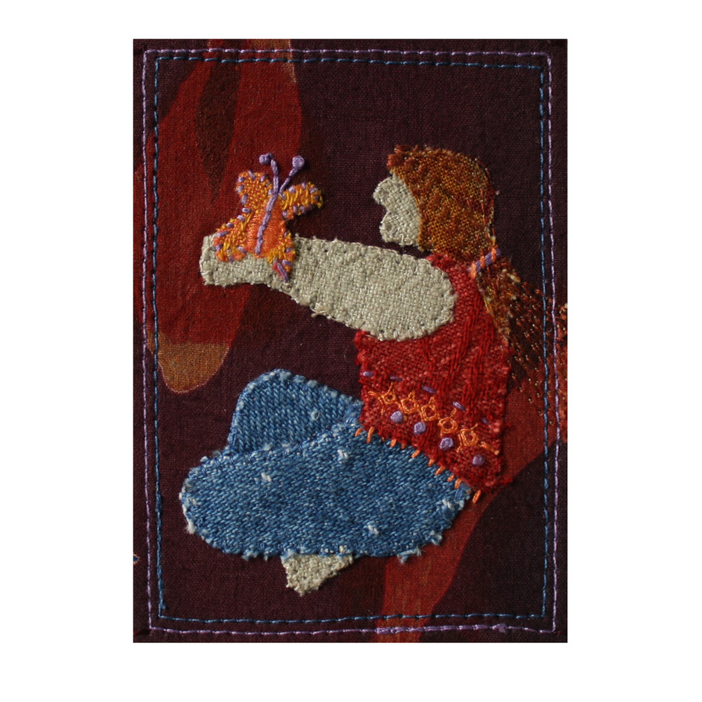 """Woman and Butterfly. 2.5"""" x 3.5"""" Stitched Fabric Collage. eBay listing. Available  here ."""