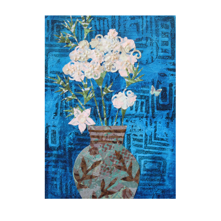 "Flower in Turquoise and Brown Vase (2015). Layered paper collage. 5"" x 7"". Prints available  here ."