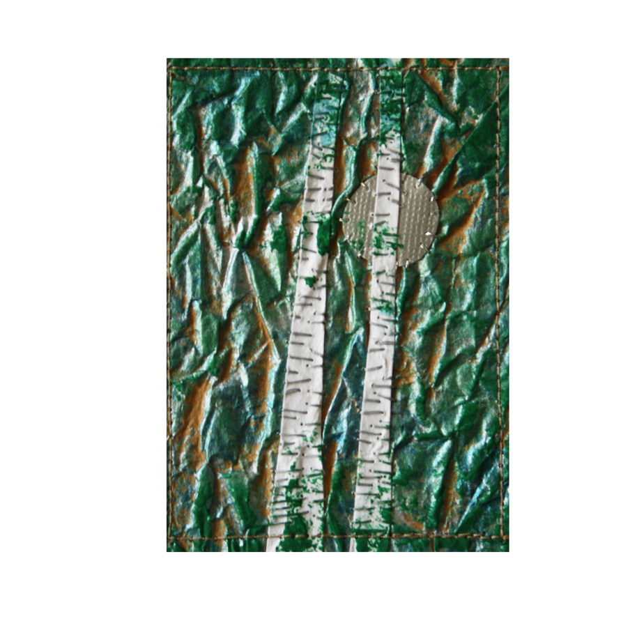 """Birches and Silver Moon. Stitched paper collage. 2.5"""" x 3.5"""". eBay listing here."""