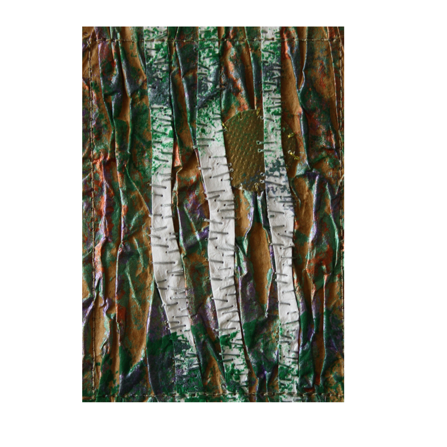 """Birches and Gold Moon. Stitched paper collage. 2.5"""" x 3.5"""". eBay listing here."""