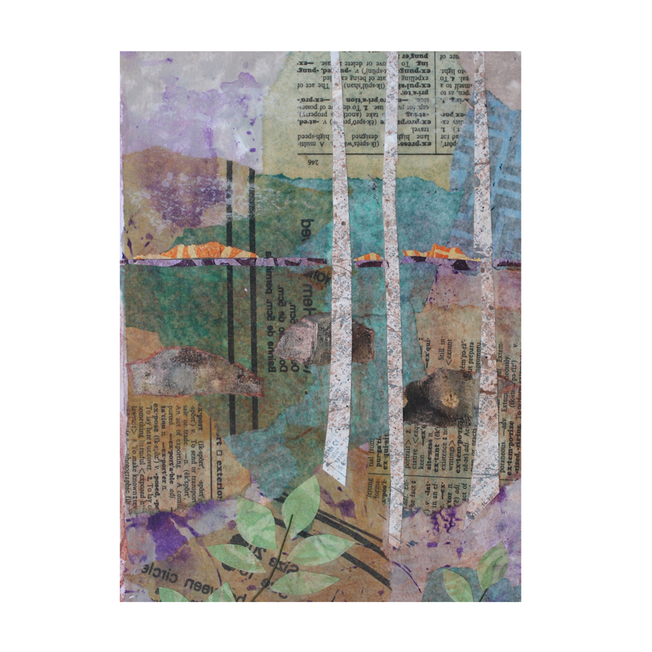 Birches at Sunset. Art journal page. Layered paper collage. Available as prints, greeting cards, t-shirts, mugs, tote bags, towels. Listing for these items is  here .