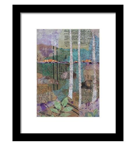 Birches at Sunset Framed Print.jpg