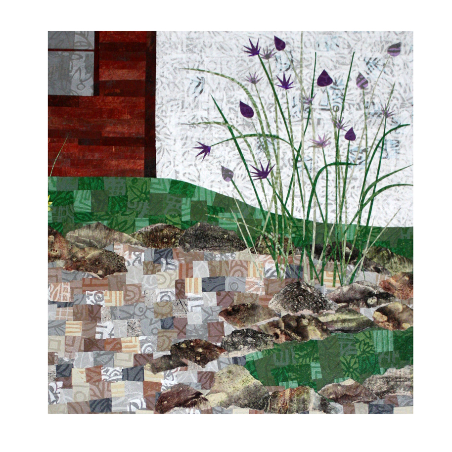 "Detail of chives added to the 18"" x 24"" canvas collage."