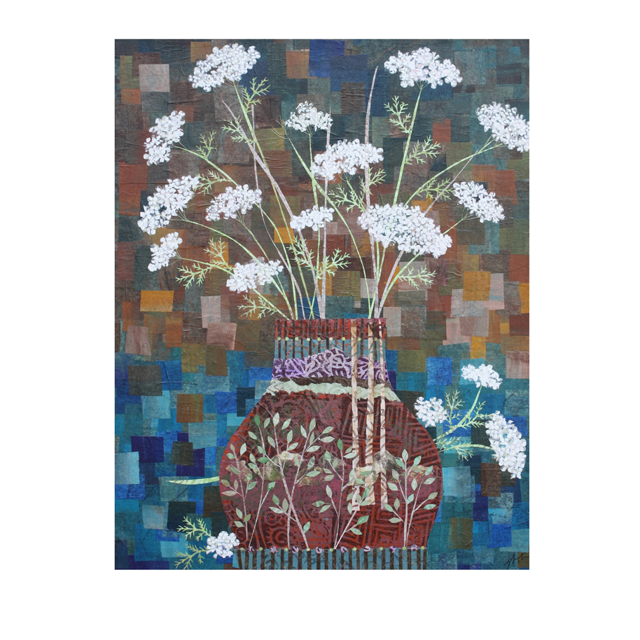 "Queen Anne's Lace in Vase with Birches. 16"" x 20"" Layered paper collage. Original available  here ."