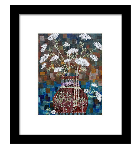 Queen Anne's Lace in Vase with Birches Framed Print. Available here.