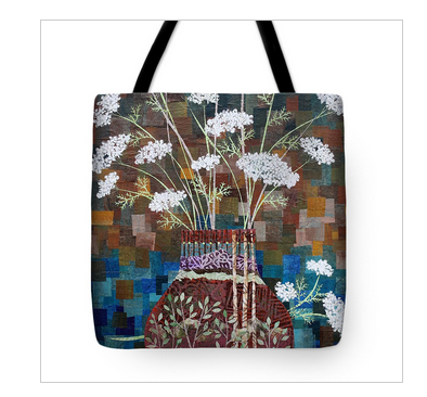Queen Anne's Lace in Vase with Birches Tote Bag. Available  here.