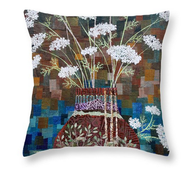 Queen Anne's Lace in Vase with Birches Throw Pillow. Available  here.