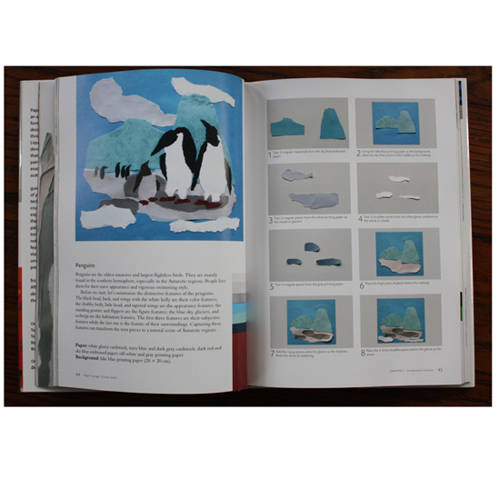 The start of the Penguins lesson from Paper Collage: Chinese Style (p. 44-45)