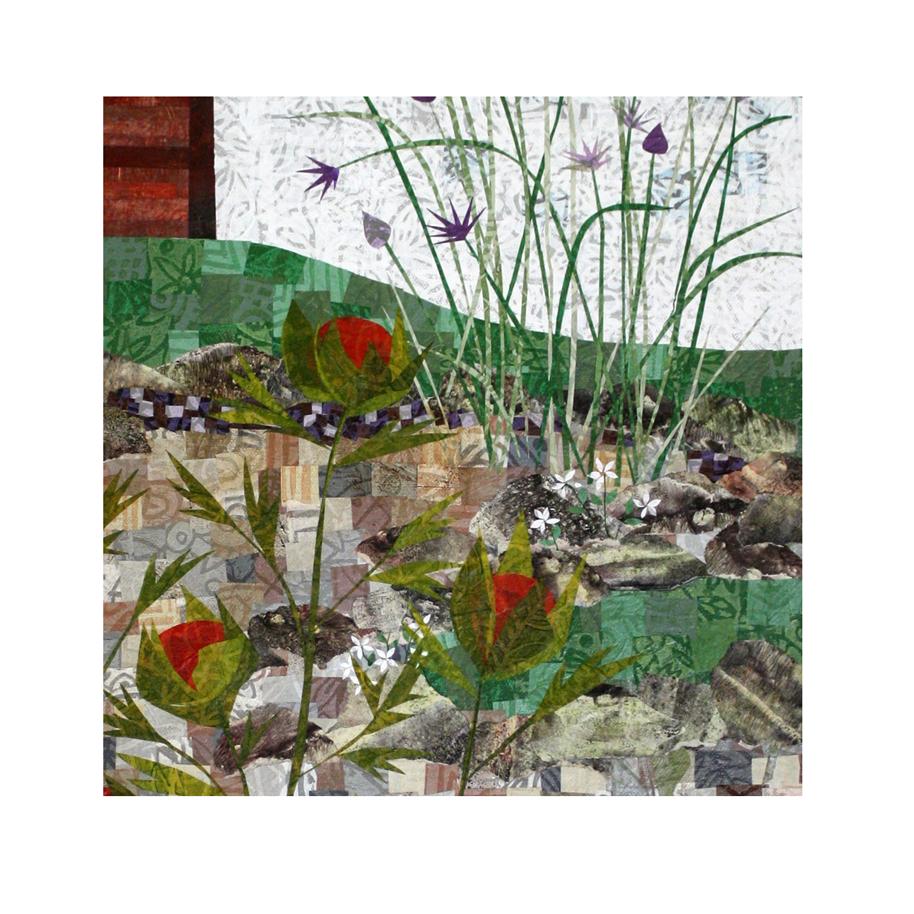 """Garden collage work in progress (detail). Layered paper collage. 18"""" x 24"""" x .75"""" canvas."""