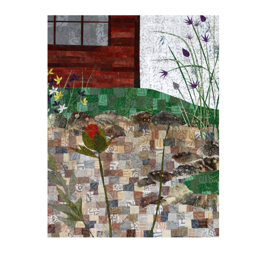 "Garden collage. Work in progress. 18"" x 24"" layered paper collage. Intermediary step."