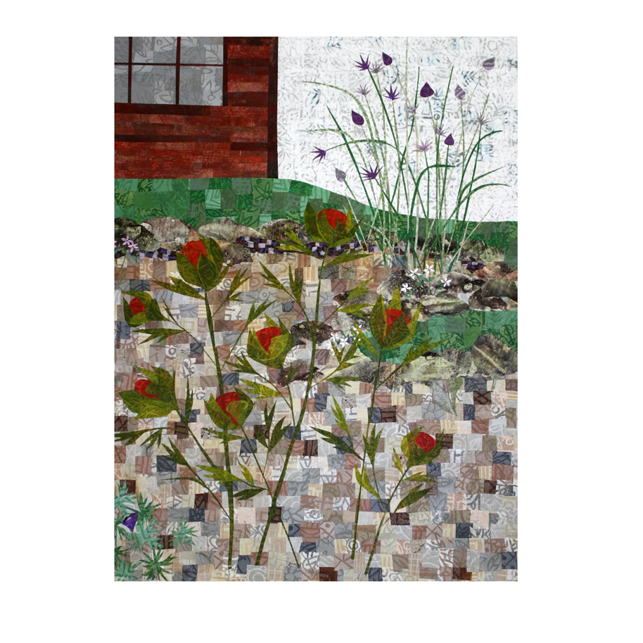 "Garden collage. Work in progress. Layered paper collage on 18"" x 24"" canvas."