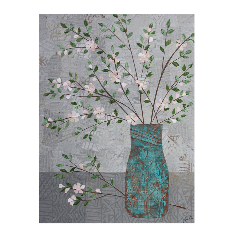 Apple Blossoms in Turquoise Vase Greeting Card.  Available here .
