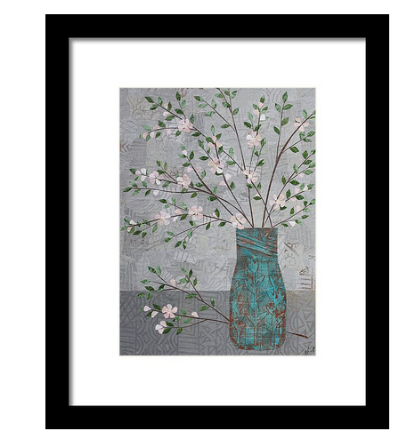 Apple Blossoms in Turquoise Vase Framed Print. Available here.