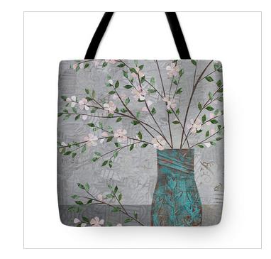 Apple Blossoms in Turquoise Vase Tote Bag. Available here.
