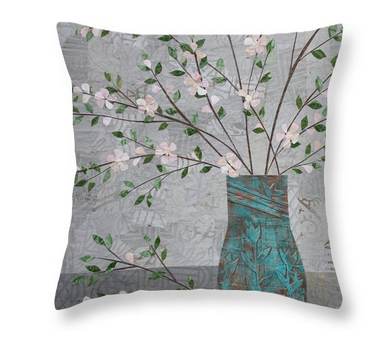 Apple Blossoms in Turquoise Vase pillow. Available here.