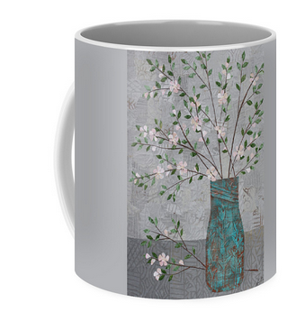 Apple Blossoms in Turquoise Vase mug. Available here.