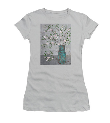 Apple Blossoms in Turquoise Vase T-Shirt.png