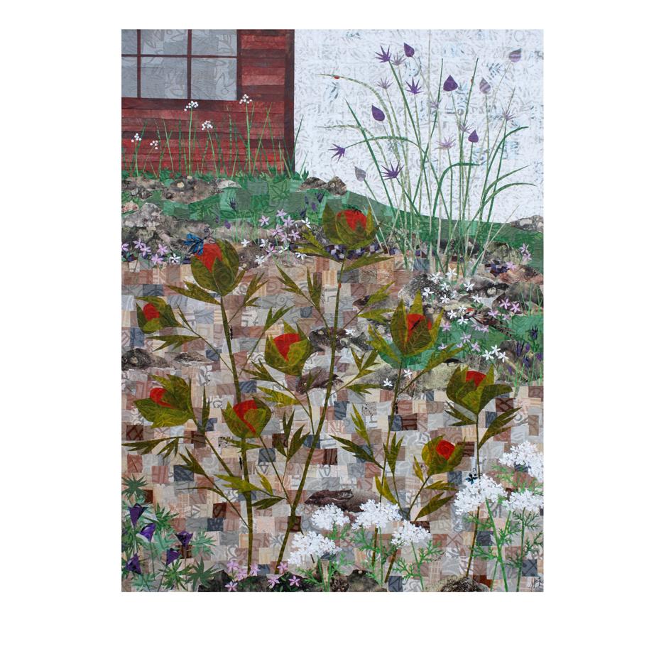 "Garden. Layered paper collage. 18"" x 24"" x .75"" canvas."