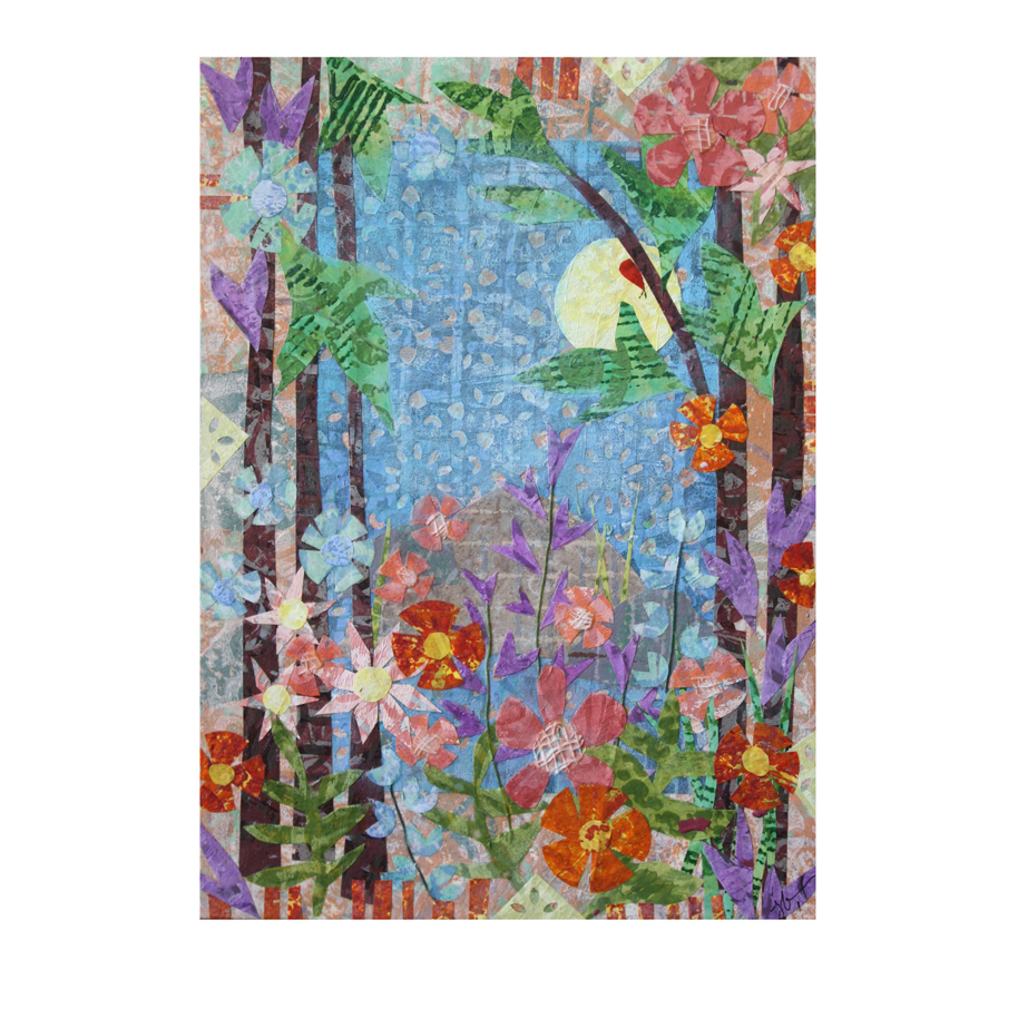 """Forest Garden. 5"""" x 7"""" layered paper collage on claybord panel. Available as prints, greeting cards, tote bags, mugs and more through my Pixels.com shop here."""
