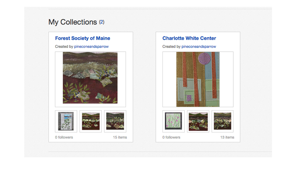 """My """"collections"""" on eBay. Collage art in small sizes to benefit the Forest Society of Maine and the Charlotte White Center. Find my eBay shop here."""