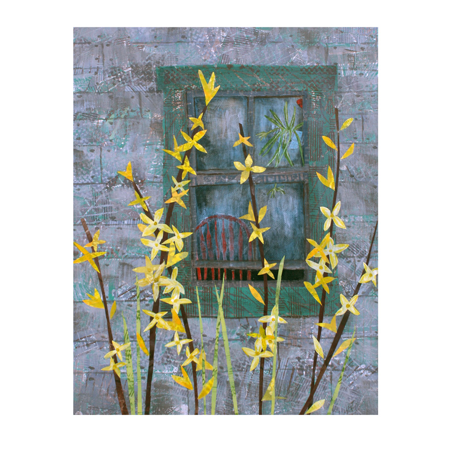 """Forsythia (2015). Layered paper collage. Hand-stamped and altered paper on 11"""" x 14"""" canvas. Sold.  Prints available here ."""